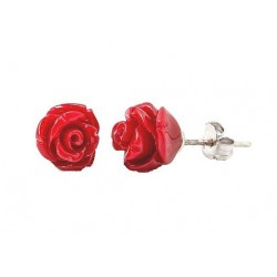 Cercei Coral Red Rose
