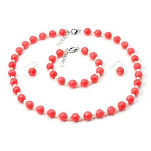 Set Coral Roz si Perle Albe