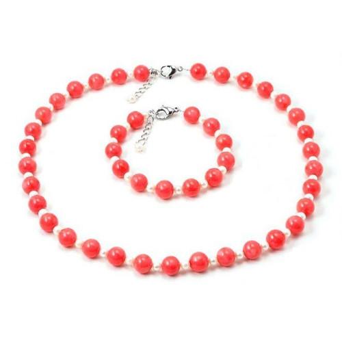Set Coral Roz si Perle Albe 1