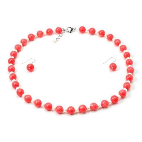 Set Coral Roz si Perle Albe 2