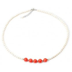 Colier Coral & Pearls