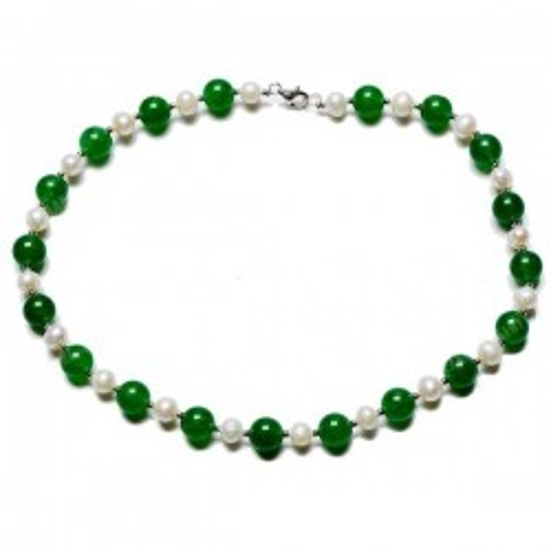 Colier Jad Verde si Perle