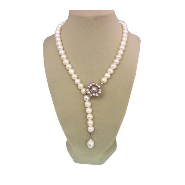 Cercei de argint cu perle albe 10 mm