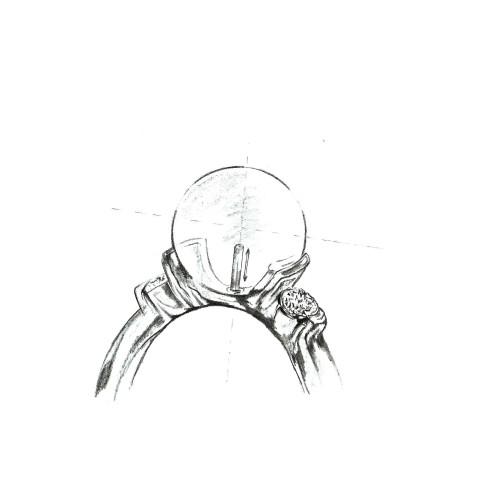 Brosa/ Pandantiv Ramura cu Perle Negre