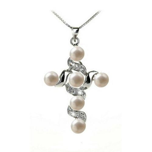 Pandantiv Six Pearl Cross-Alb
