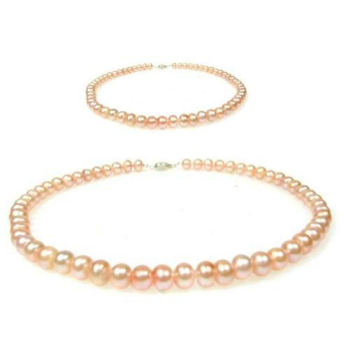 Coliere Perle Roz Mama- Fiica
