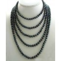 Colier Dublu Perle Naturale Negre