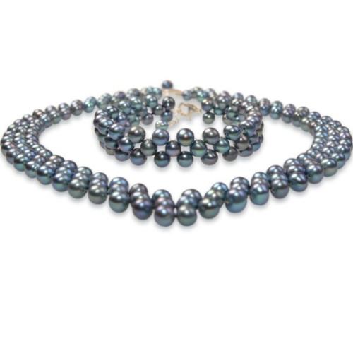 Cercei Lapis Lazuli 10 mm cu Tortite Argint Inchise