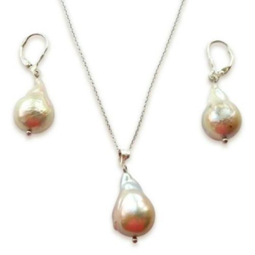 Set Argint cu Perle Baroque...