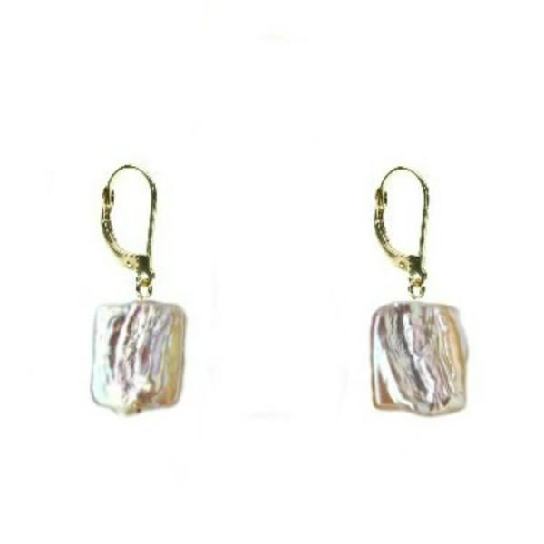 Cercei Argint si Perle Naturale Crem de 8 mm