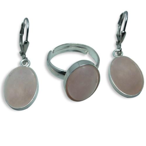 Set Oval Argint si Cuart Roz