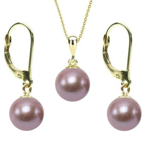 Colier Extravagance cu perle albe de 8-9 mm