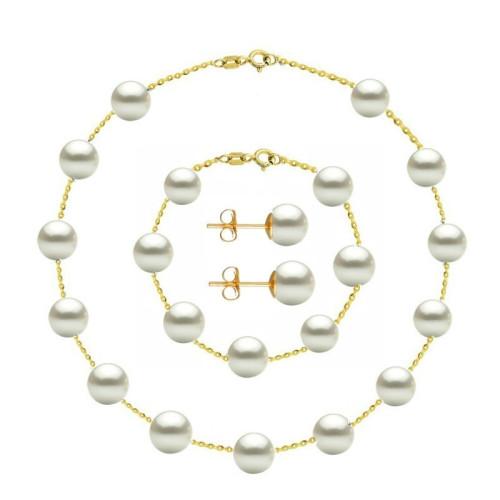 CADOU SPECIAL Set Silver Star Perle Naturale Albe