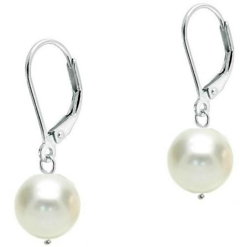 Set Argint cu Perle Naturale Albe de 13-14 mm