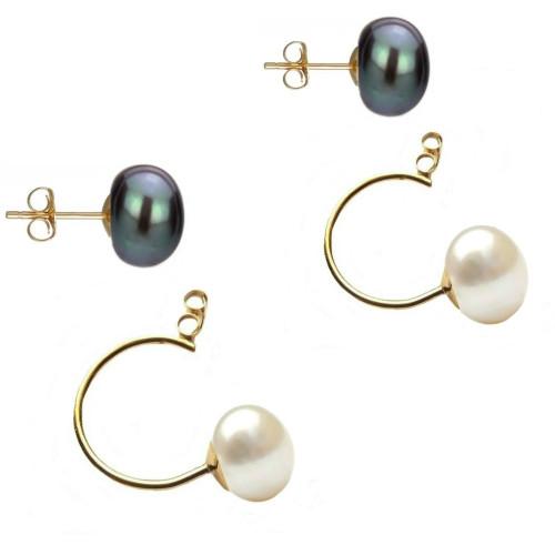 Set Argint cu Perle Naturale Crem de 13-14 mm