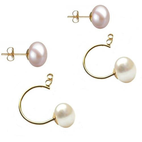 Cercei Argint cu Perle Naturale Lavanda de 13-14 mm