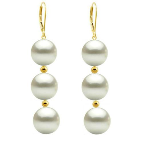 Cercei Aur Lungi Tripli cu Perle Naturale