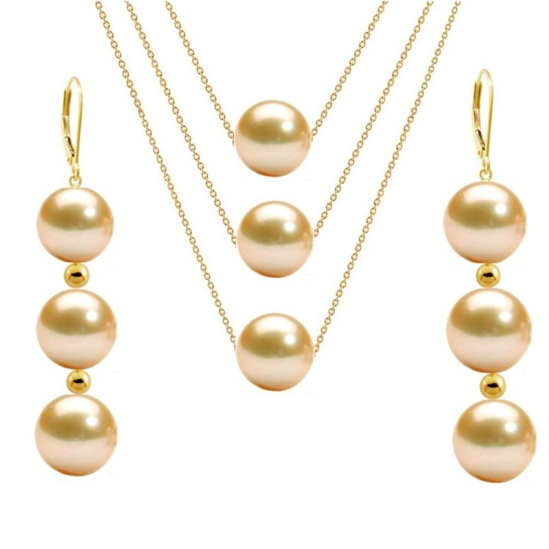 Cercei Aur Lungi Tripli cu Perle Naturale Akoya