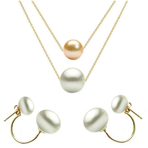 Set Argint Bulgaras cu Perle Naturale Albe Calitatea AAA