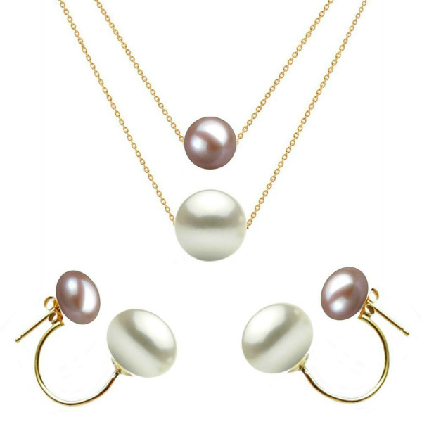 Set Aur Bulgaras cu Perle Naturale Albe