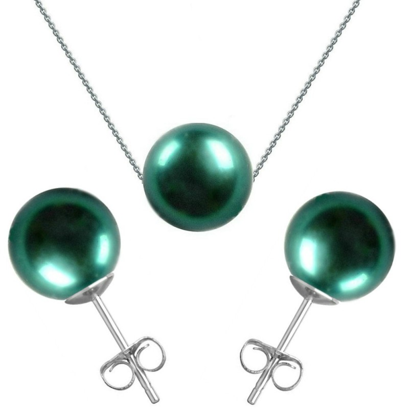 ofera reduceri bine cunoscute angro Set Aur Alb si Perle Naturale Premium Verde Smarald
