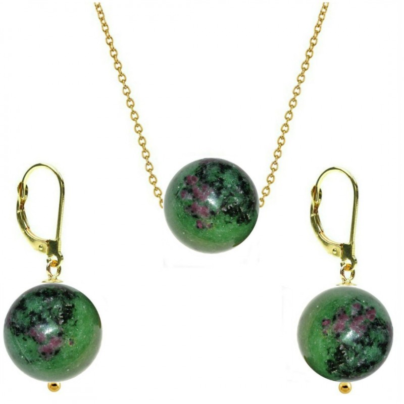 Creole Aurii cu Jad Natural Verde