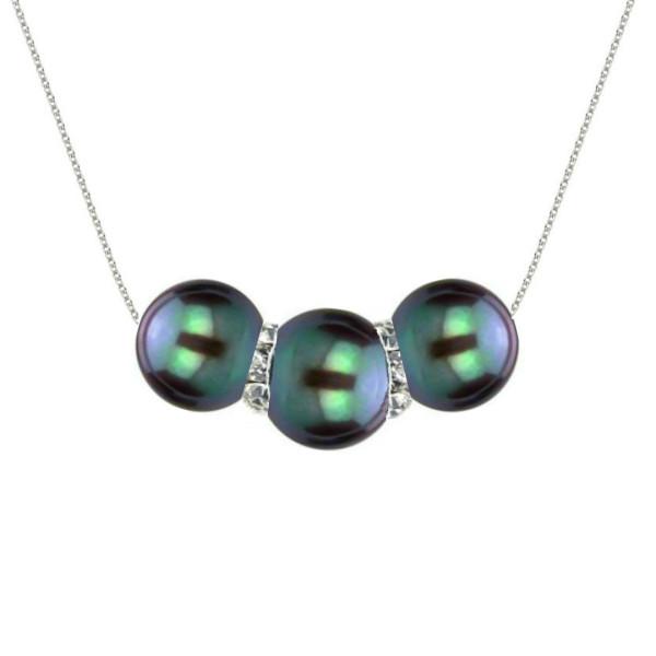 Set Aur 14 k cu Perle Naturale Premium Negru Smarald