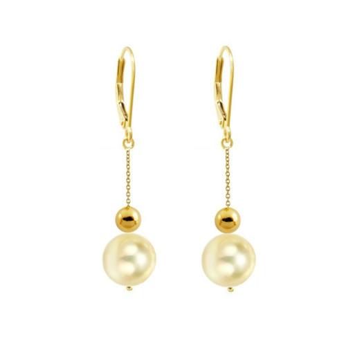 Cercei Aur si Perle Naturale Crem