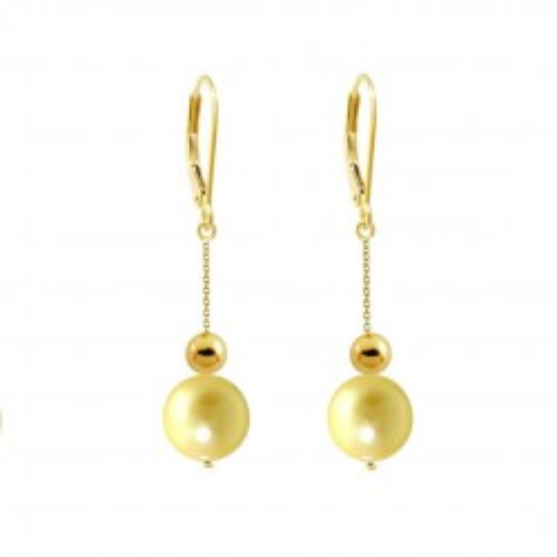 Cercei Aur si Perle Naturale Lavanda