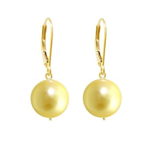 Cercei Aur si Perle Naturale Verde-Smarald