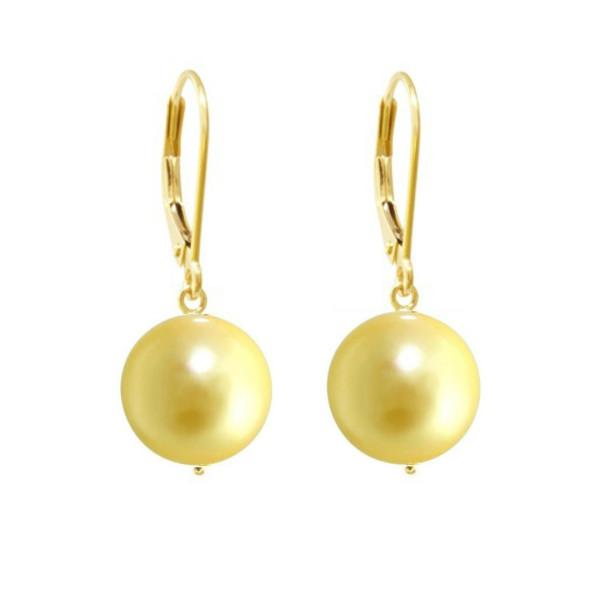 Cercei Aur si Perle AAA Negre