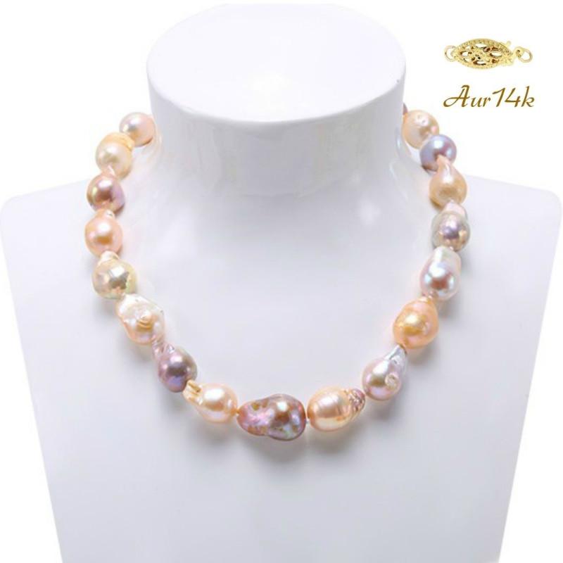 Set Aur Alb 14 k cu Perle Naturale Lavanda