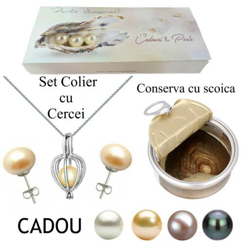Cercei Aur Alb de 14k si Perle Naturale Lavanda