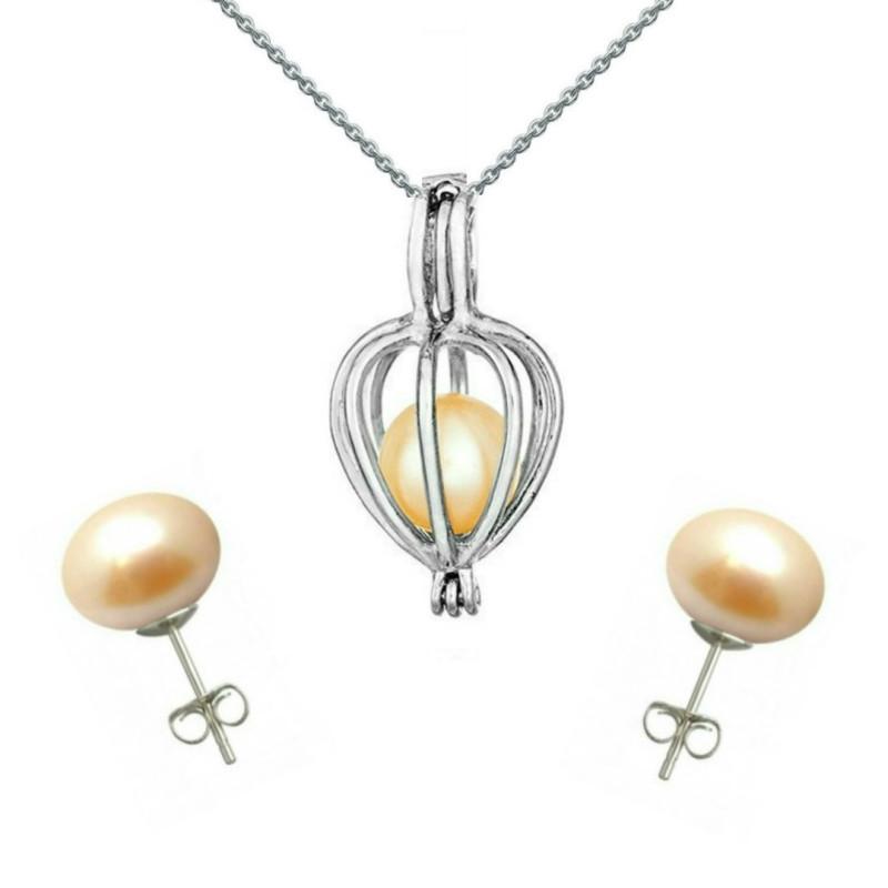 Cercei Aur Alb de 14k si Perle Naturale Crem