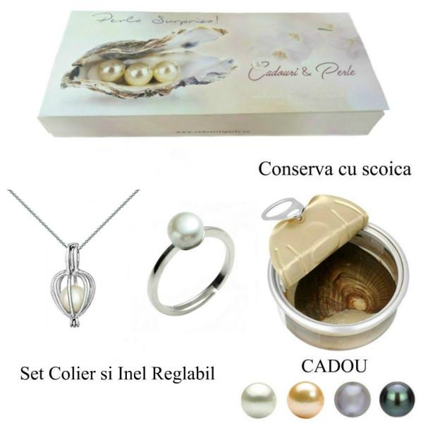 Bratara Perle Naturale Albe Premium de 7-8 mm cu Inchizatoare Sferica de Aur Galben