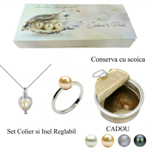 Bratara Perle Naturale Albe Premium de 8-9 mm cu Inchizatoare Sferica de Aur Galben