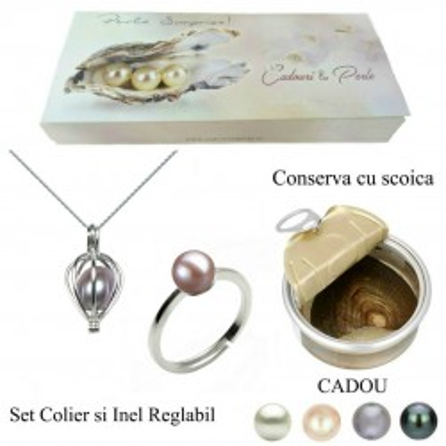 Bratara Dubla Aur Alb si Perle Naturale Albe Premium de 7-8 mm