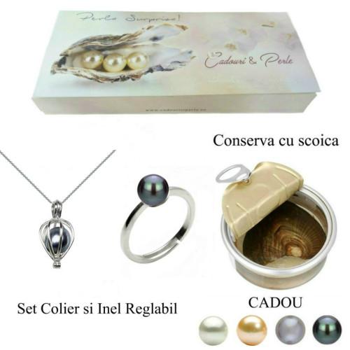 Bratara Dubla Perle Naturale Albe Premium cu Inchizatoare de Argint