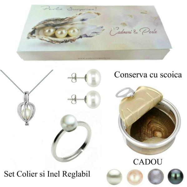 Bratara Tripla Aur Galben si Perle Naturale Albe Premium de 7-8 mm
