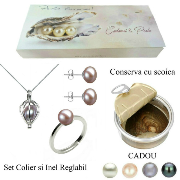Set Office Argint 925 si Perle Naturale Premium de 10 mm