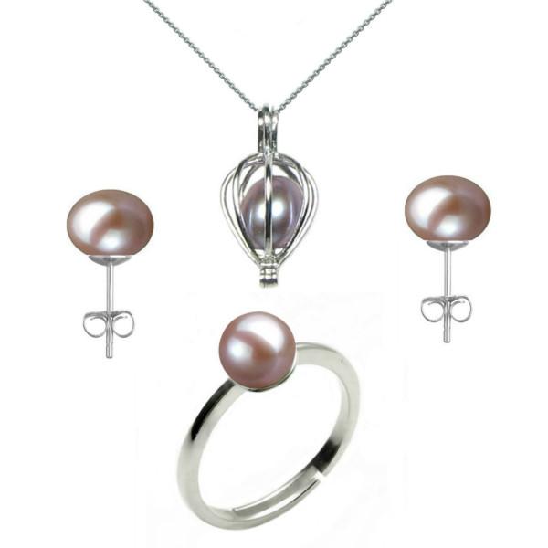 Inel Reglabil din Argint cu Perla Alba
