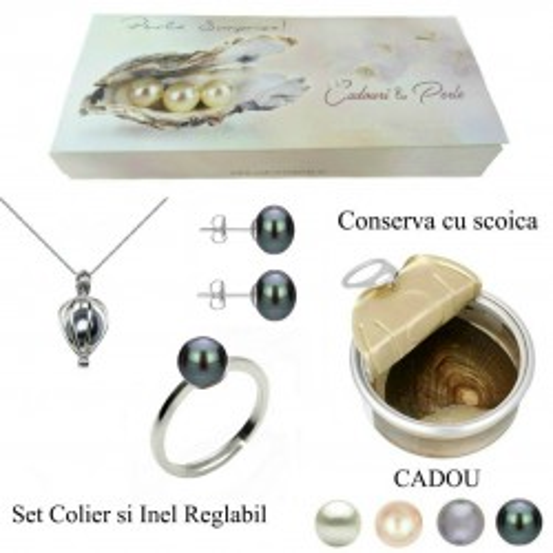Set Office Bratara si Cercei Aur 14 k si Perle Naturale Premium de 8 mm