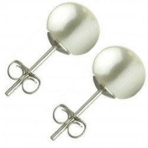 Bratara Perle Naturale Ovale Albe cu Inchizatoare Argint