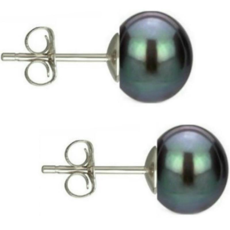 Bratara Perle Naturale Ovale Negre cu Inchizatoare Aur Galben
