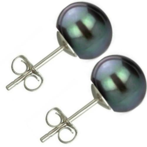 Bratara Perle Naturale Ovale Negre cu Inchizatoare Argint