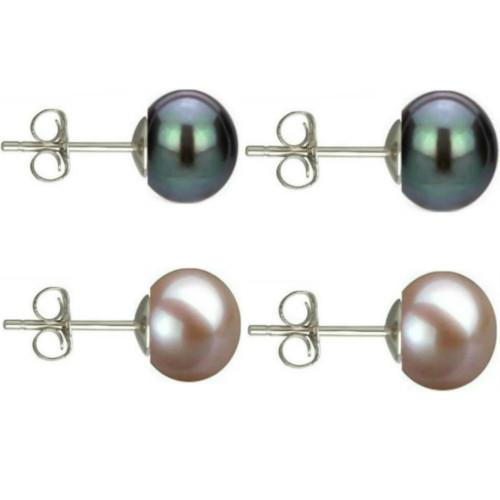 Cercei Argint cu Perle Naturale Albe Premium de 8 mm