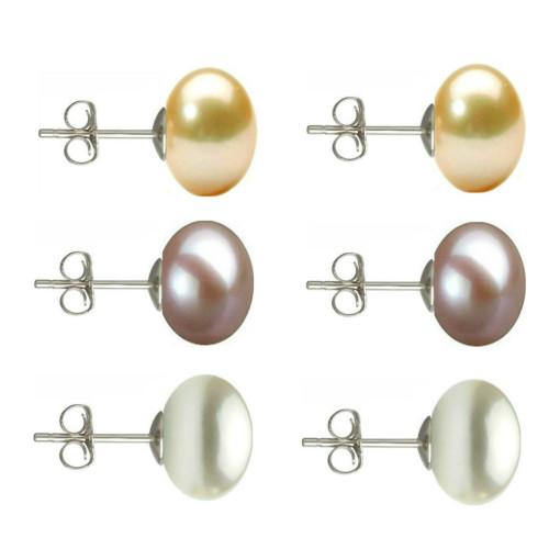 Set Aur Alb 14k si Perle Naturale Negre Mari