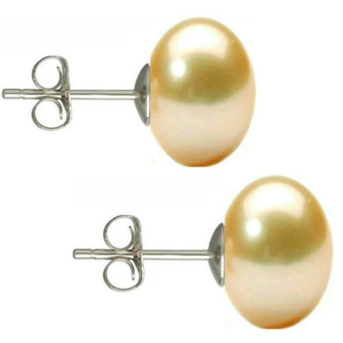 Set Perle Naturale Negre Mari cu Inchizatori Sferice Aur Alb de 14 k