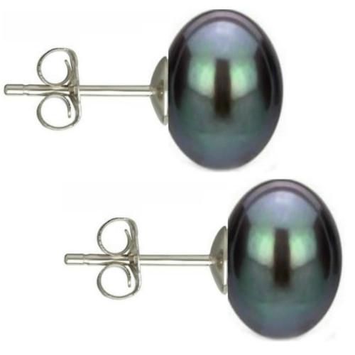 Set Argint 925 si Perle Naturale Teardrops Negre