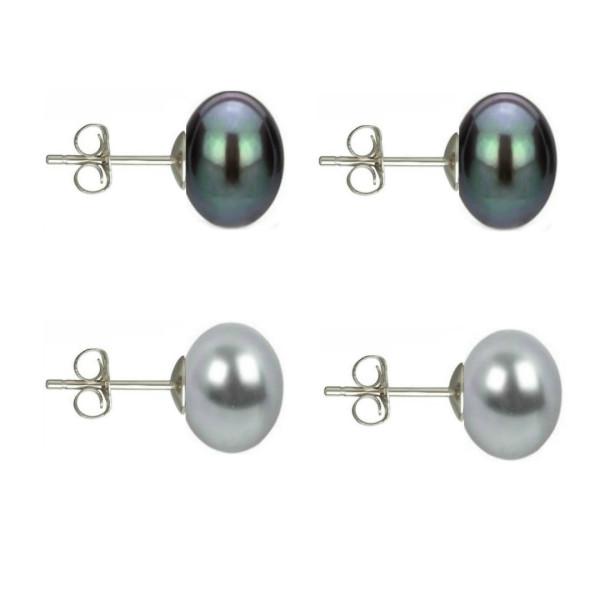Set Business Perle Naturale cu Inchizatoare Aur Galben Sferica